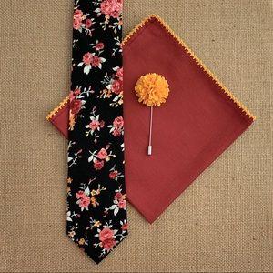 ⚜️HP⚜️ Men's Black Floral Necktie Accessory Set